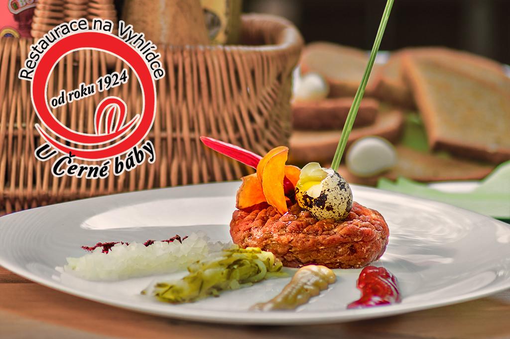 Tatarský biftek v Restauraci na Vyhlídce